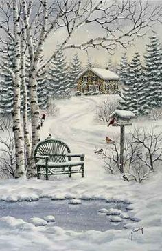 Waiting for Spring, a print from an original watercolor by Kathy Glasnap of Door County, Wisconsin
