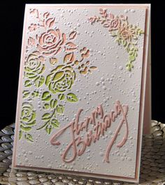 Dorothy Bday April 2018 Tim Holtz media die used in left corner. Both the other corner die cut and Happy Birthday are from China dies. The watercolor piece underneath is one I did a while ago using Distress Inks. Designed and created by Peggy Dollar Diy Birthday Cards For Mom, Homemade Birthday Cards, Homemade Cards, Bday Cards, Mixed Media Cards, Embossed Cards, Pretty Cards, Mix Media, Paper Cards