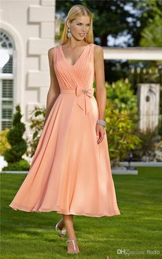Wholesale Bridesmaid Dresses - Buy 2014 Modern A-Line V-Neck Tea Length Pleats Ribbon Bow Coral Chiffon Formal Bridesmaid Dresses with Beaded Straps, $85.99 | DHgate