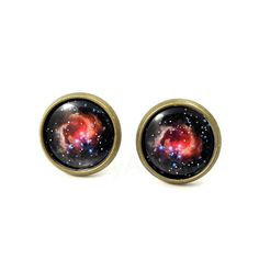 Galaxy Earring Studs - Black Pink Nebula Earring Posts