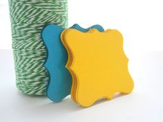 32 Square Bracket cards (2.5 inches) Textured Cardstock squared bracket cards canary yellow and turquoise or choose your colors  A548 by Mariapalito