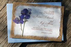 Burlap Save The Date Purple Larkspur - Rustic Save the Date Wedding Cards  SAMPLE, $2.85