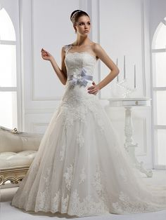 One Shoulder A-line fashionable bridal gown