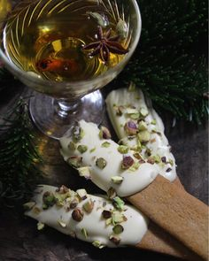 white chocolate and pistachio dipped gingerbread sticks