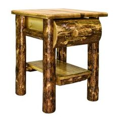 Amish Made Log Furniture Nightstand