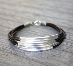 Brown Leather Bracelet with Silver Tube Accents (also available in GOLD)