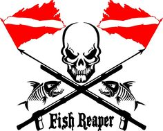 Fish Reaper Skull Diver Flag Speargun Car Boat Truck Window Vinyl Decal Sticker #Oracal