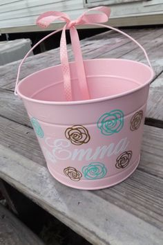 A personal favorite from my Etsy shop https://www.etsy.com/listing/517191809/easter-bucket-with-gold-mint-flowers