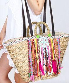 Straw Bag with pompoms beach bag basket bag by karissagr on Etsy