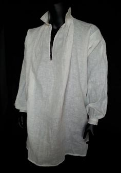 Man´s Shirt1800 This authentic shirt suits perfectly for any vest inspired by the victorian age. Of course the vest looks very good worn as standalone, too. Like its shape, linenisused for this shirtexactly...