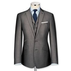Grey mohair tailored fit Black label suit, by Charles Tyrwhitt. Sharp Dressed Man, Well Dressed Men, Mohair Suit, Preppy Mens Fashion, Man Fashion, Bespoke Clothing, Fitted Suit, Wedding Suits, Wedding Groom