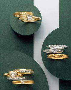 【オレッキオ】エメラルドカットダイヤの婚約指輪&結婚指輪