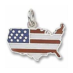 USA American Flag Charm, Sterling Silver.