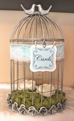 a love bird cage for wedding cards!