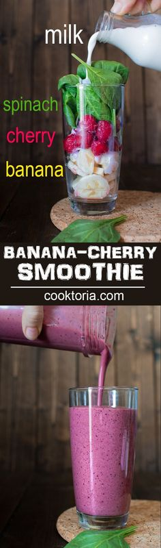 You're 5 minutes and 4 ingredients away from this refreshing and healthy Cherry Spinach Smoothie. It makes a perfect breakfast or mid-day snack! ❤ COOKTORIA.COM