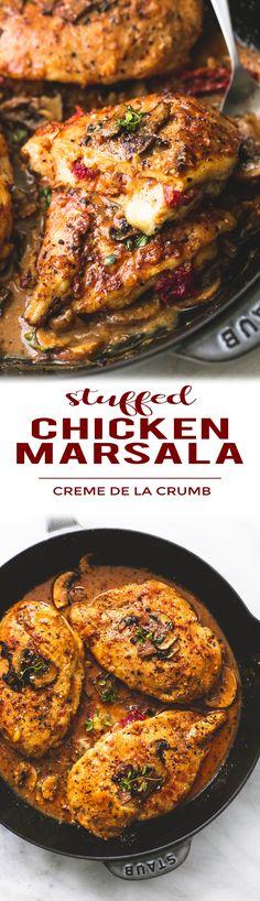 Seasoned and stuffed chicken marsala with mozzarella, parmesan, and sun dried tomatoes, smothered in savory marsala mushroom sauce.   lecremedelacrumb.com