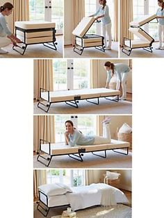 """OTTOMAN FOLDS OUT INTO TWIN BED.  HIDE YOUR GUEST BED IN PLAIN SIGHT. $229 Fold-Out Ottoman Bed - Folding Ottoman Sleeper. 3 thick foam cushions provide comfortable sleep support.  Ottoman:  23""""x28""""x16""""H.  $229 Bed:  75""""x29"""" holds 250 lbs.  $39 Slipcover sold separately"""