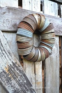 Canning jar seal wreath !! Love the natural tarnish !!