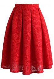 Sunflower Lacey Skirt in Red - New Arrivals - Retro, Indie and Unique Fashion. Don't typically wear skirts, but this one's quite nice, I'd wear it. Red Pleated Skirt, Red Skirts, Cute Skirts, Dress Skirt, Midi Skirt, Modest Fashion, Unique Fashion, Fashion Dresses, Womens Fashion