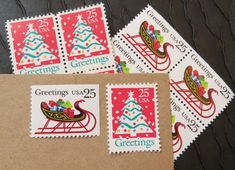 Christmas in Narnia .. UNused Vintage Postage Stamps  .. post 5 letters