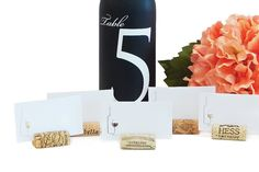 Variety Wine Cork Place Card Holders, Made from Real Recycled Corks, Wedding Escort Card Holders