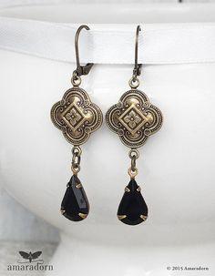 Brass Medieval Earrings Jet Black Crystal Drop Ear by Amaradorn