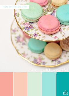 gold peach coral mint color palette | pastel-macaron-inspired color palette // coral, peach, mint, aqua ...