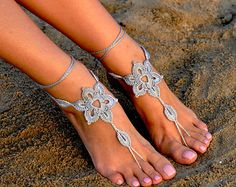 Crochet Powder Pink Barefoot Sandals Nude shoes Beach by barmine