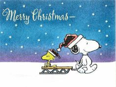Merry Christmas - Snoopy Pulling Woodstock on a Sled