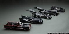All 6 Batmobiles from TV & film.  These are all COOL!.  I've always wanted one, any one.