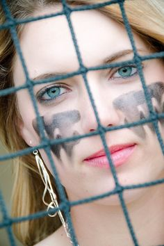 Photo from Kaylee Senior collection by Holly Copher Photography. Eye black softball If you are Brown Mascara, Brown Eyeshadow, Eyeshadow Brushes, Softball Hairstyles, Sporty Hairstyles, Night Makeup, Eye Makeup, Eye Black Designs, Warrior Makeup