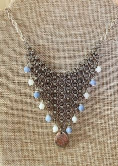Chainmaille bib necklace (handmade) for Sale in Dover, NH - OfferUp Ladybug Jewelry, Chainmaille, Handmade Necklaces, Glass Beads, Jewelry Accessories, Blue And White, Jewelry Findings