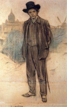 """Ramon Casas,, """"Pablo Picasso"""" 1900 (Picasso a 19 anni)"""