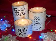 Christmas Birch Candle Holders Let It Snow by Northwoodswood, $20.00