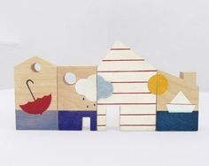 Baby blocks toy, eco friendly little houses wooden toy