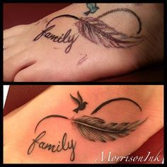 Feather infinity family tattoo
