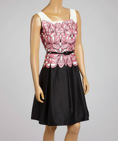 Look what I found on #zulily! Pink & Black Belted Swirl Fit & Flare Dress - Women by Cece's New York #zulilyfinds