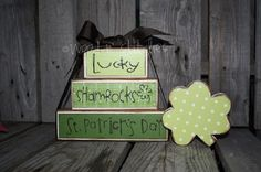 St Patrick's Day Block Stacker Stacker only  by jodyaleavitt, $19.95 How hard would it be to make these?