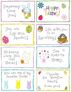 Easter Lunchbox Love Notes – free printable. Yes, I just pinned this in November. Never know when you might need bunny cards.