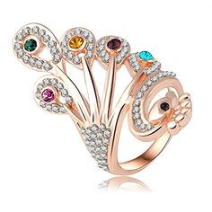 K-DESIGN New Style 18K Rose Gold Plate Austrian Crystals Peacock Ring Wholesale Fashion Rings 22*42mm Ri-HQ0272 6.5 -- Click on the image for additional details.