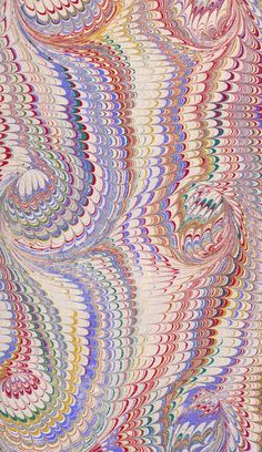 Vintage 19th C. marbled paper, French curl on Nonpareil pattern