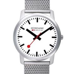 Buy Mondaine Unisex Simply Elegant Mesh Bracelet Strap Watch, Silver/White from our Men's Watches range at John Lewis & Partners. Stainless Steel Watch, Stainless Steel Bracelet, Cool Watches, Watches For Men, Swiss Railways, Best Watch Brands, Online Watch Store, Elegant Watches, Mesh Bracelet