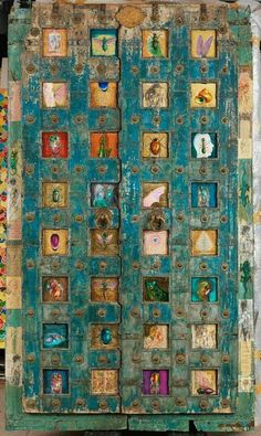 Teal door with different insects, interesting.