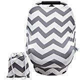 #10: Baby Car Seat Covers Super Soft stretchy and Breathable Nursing Covers for Boys and Girls with Pouch Cute Gray Wave Stripes