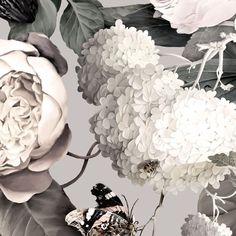 Dark Floral II Gray - Floral Wallpaper - by Ellie Cashman Design - Daniela Butina - Wallpapers Designs Grey Floral Wallpaper, Fabric Wallpaper, Of Wallpaper, Flower Wallpaper, Designer Wallpaper, Ellie Cashman Wallpaper, Vintage Floral Wallpapers, Beautiful Flowers Wallpapers, Paper Light