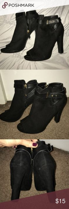Peep Toe Booties Peep Toe Booties - gently worn ONCE - Size: 9 - FTTS - super cute Sam & Libby Shoes Ankle Boots & Booties