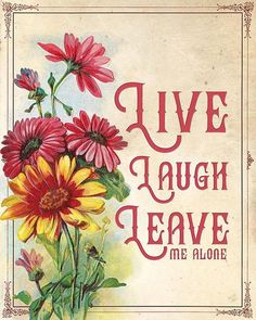For all those who have had ENOUGH of Live Laugh Love! Live Laugh Leave Me Alone by Mallory Jarrell Size: 8 x 10 This is printed on matte photo paper by a professional printer. Will not fade. Please see shop policies for more information. Wall Art Sets, Framed Wall Art, Canvas Wall Art, Framed Art Prints, Wall Art Prints, Alone Art, Leave Me Alone, Weird Art, Modern Wall Art
