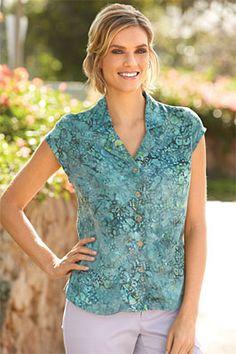 V-Neck Floral Shirt / Lapel-Collar Cap-Sleeve Print Shirt -- Orvis