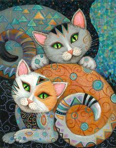 Adapted from the artwork of Marjorie Sarnat, Kuddlekats has 2 cats colorfully adorned w/swirls & geometric shapes. Heaven & Earth Designs produces intricate cross stitch designs from the artwork of many talented artists. I Love Cats, Crazy Cats, Cute Cats, Fancy Cats, Adorable Kittens, Subject Of Art, Image Chat, Photo Chat, Cat Quilt