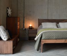 walnut-hoxton-with-cube bedroom furniture - all exclusive to Natural Bed Company